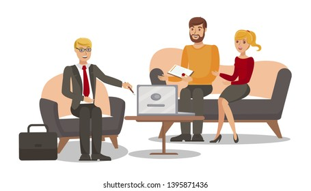 Family Jurist Consulting Flat Vector Illustration. Lawyer, Husband and Wife Cartoon Characters. Professional Legal Consultant, Notary Service. Marriage Contract Preparation, Paperwork Assistance