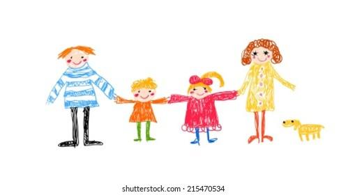 family kid drawing