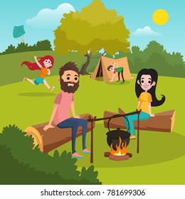 Family with kids camping in park. Girl playing with kite. Boy putting up tent. Parents sitting on log near campfire. Nature landscape. Summer outdoor activities. Flat vector