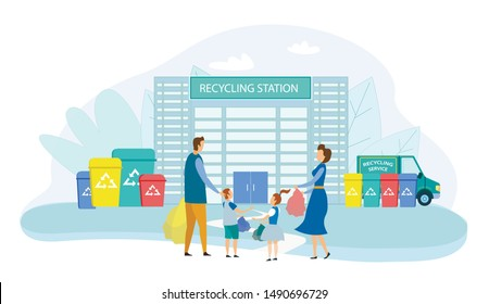 Family With Kids Collect Litter Bring it to Recycle Station, People Recycling Garbage in Different Container for Separation to Reduce Environment Pollution. Earth Day Cartoon Flat Vector Illustration