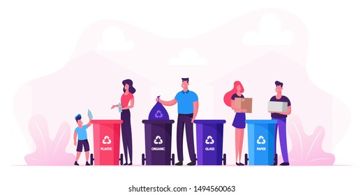 Family With Kids Collect Litter Bring it to Recycle Bins. People Recycling Garbage in Different Containers for Separation to Reduce Environment Pollution. Earth Day. Cartoon Flat Vector Illustration