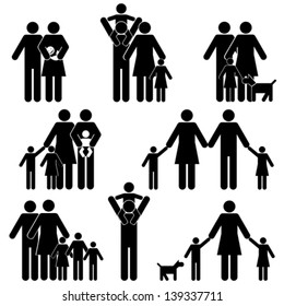 Family with kids icon set