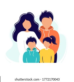 Family with kids. Family lifestyle concept. Mother, dad and children together. Vector illustration in flat style.