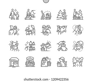 Family with kids prepare for christmas Well-crafted Pixel Perfect Vector Thin Line Icons 30 2x Grid for Web Graphics and Apps. Simple Minimal Pictogram