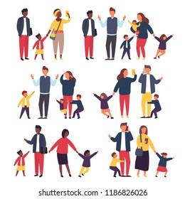 Family with kids. Tired parents with naughty children. Couple of busy people with babies. Set vector illustration.
