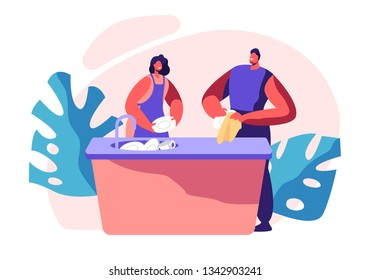 Family Kitchen Cleaning Time. Housework, Chores Domestic Working Dishes, Cleanliness and Routine. Person Smile, Happy for Dry Plate. House Interior Utensils. Flat Cartoon Vector Illustration