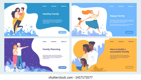 Family landing page. Healthcare and insurance web page business template with trendy flat parents and children characters. Vector set happiness illustrations modern concepts