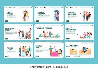 Family landing pages. Happy family, childhood, parenthood, grandparents vector banners collection
