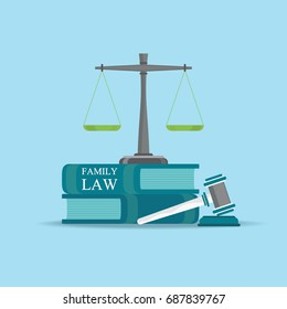 Family  Law books with a judges gavel in flat style, Conceptual  Law and justice set icon, Vector illustration.