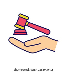 Family law color icon. Gavel, court hammer in hand. Justice, jurisdiction. Auction bid. Divorce mediation, legal separation. Isolated vector illustration