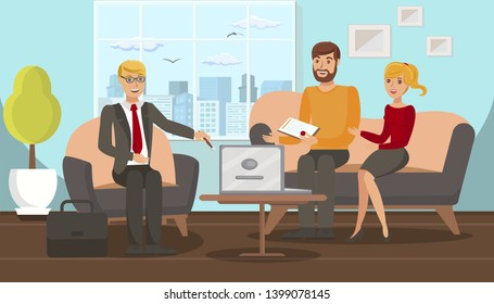 Family Law Consultation Flat Vector Illustration. Cheerful Jurist and Married Couple Cartoon Characters. Husband and Wife in Lawyer Office. Notary, Legal Advice Service. Marriage Contract Registration