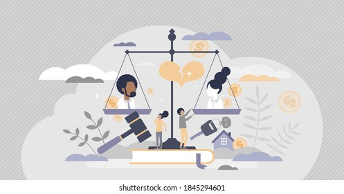 Family law as legal custody and property split in divorce tiny person concept. Marriage conflict as breakup consequences vector illustration. Settlement agreement and common ownership division process