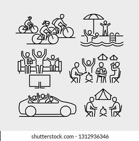 Family Leisure Vector Line Icons