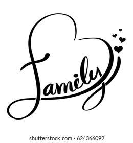 Family lettering heart shaped. Vector illustration.