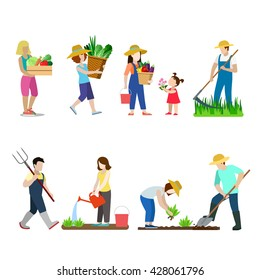 Family life in garden creative vector icon set. Young man woman children gardening illustration on white background. People grow farm plants. Scythe shovel pitchfork watering can bucket basket box.