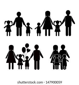 Family life icon set