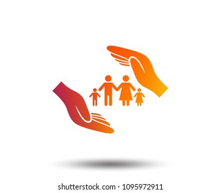Family life insurance sign icon. Hands protect human group symbol. Health insurance. Blurred gradient design element. Vivid graphic flat icon. Vector
