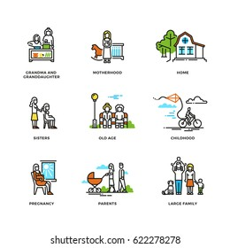 Family life, marriage and love, childhood and old age line vector icons