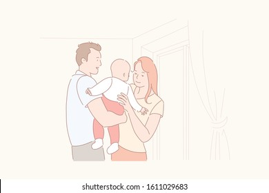 Family life, parenthood, baby care concept. Upbringing child, domesticity, love and care, home comfort, happy young family at home, married couple with kid, parents and infant. Simple flat vector