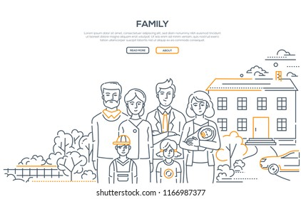 Family - line design style banner on white background with place for your text. High quality composition with a young couple standing with three small children and parents, nice house, car, trees