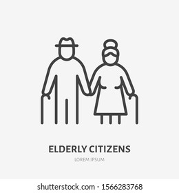 Family line icon, vector pictogram of grandparents holding hands. Elderly relatives, happy old couple illustration, people sign.