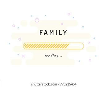 Family loading - vector illustration. Mint background.