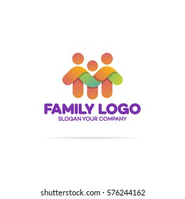 Family logo consisting of in simple figures dad, mom and child used for family medicine practice, team, group, friendship. Vector Illustration