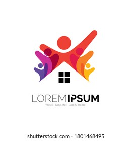 Family logo with house design template, people and building logos
