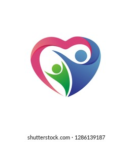 Family Love Care, Charity and Foundation Logo Vector