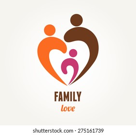 Family love - Mother, father and child. Vector icon