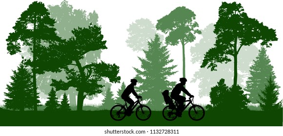 Family (man, woman and child) rides the bicycles in the park (forest). Silhouette, vector