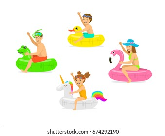family, man woman, parents and children on summer time vacation swimming on inflatable floating  mattress rings in shapes of dragon, duck, flamingo, unicorn