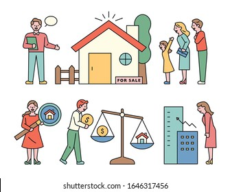Family and manager to buy a house. Asset value of the house. flat design style minimal vector illustration.