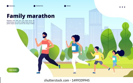 Family marathon. Dad, mom and kids running together in summer city park. Healthy lifestyle, children jogging training vector concept