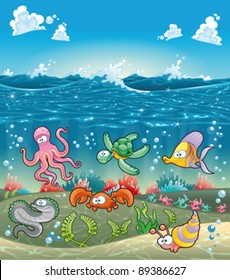 Family of marine animals under the sea. Funny cartoon and vector illustration