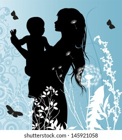Family, Mather and Baby. All elements and textures are individual objects. Vector illustration scale to any size.