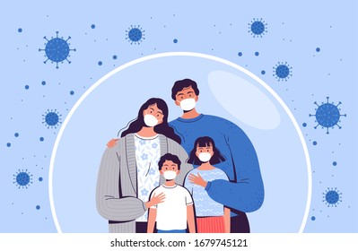 Family in medical masks stands in a protective bubble. Adults and children are protected from the new coronavirus COVID-2019