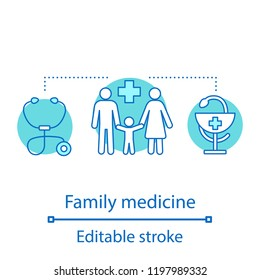 Family medicine concept icon. General practice idea thin line illustration. Medicine and healthcare. Hospital. Family, stethoscope, bowl of Hygieia. Vector isolated outline drawing. Editable stroke