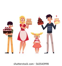 Family members, father, mother, son and daughter holding birthday cake, cartoon vector illustration isolated on white background.