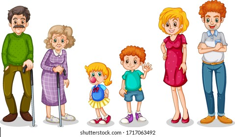 Family members with parents and kids on white background illustration