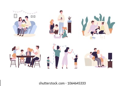 Family members spending time together at home. Mother, father and children reading book, decorating house, watching TV. Cute cartoon characters isolated on white background. Flat vector illustration.