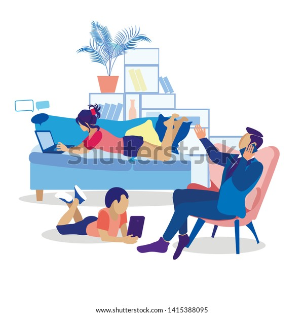 Family Members Using Modern Gadgets Flat Illustration. Mother Lying on Sofa Typing on Laptop. Father Sitting on Armchair Having Business Call. Son Playing Games or Reading on Tablet. Vector Cartoon