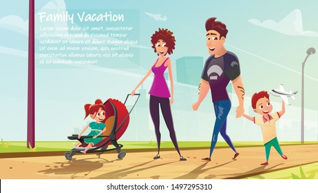 Family Members Walking with Baby Car or Pram Flat Cartoon Banner Vector Illustration. Father Holding Son Arm. Parents and Children on Outdoor Vacation. Kid Playing with Plane. Spending Time Together.