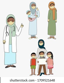 Family of the middle East Palestine mom with kids doctor wearing mask refugies wearing mask, mother with kid wearing mask on isolated background