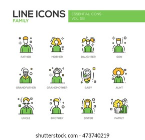 Family - modern vector line design icons and pictograms set. Father, mother, sister, brother, daughter, son, grandmother grandfather baby aunt uncle