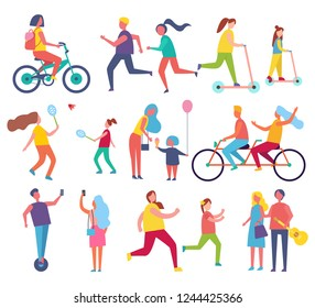 Family mom and child with air inflatable balloon icons set vector. Relaxing people riding bicycle and couple playing tennis. Running male and female