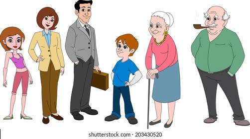 Family with mom & dad in business attire, young brother, sister and grandparents