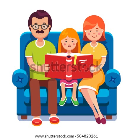 family mom dad daughter reading story stock vector royalty free