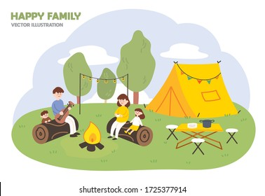 Family month concept illustration. Happy family enjoying camping in the forest.