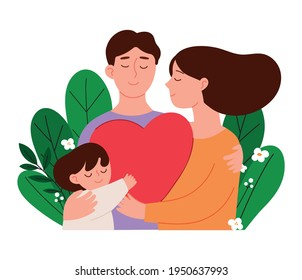 family month concept vector illustration. The family surrounded by plants is isolated on a white background.